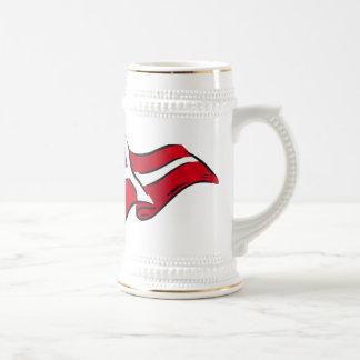 Bandera danesa sombreada ondulada de Dinamarca Taza De Café