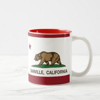 Bandera Danville del estado de California Taza De Dos Tonos