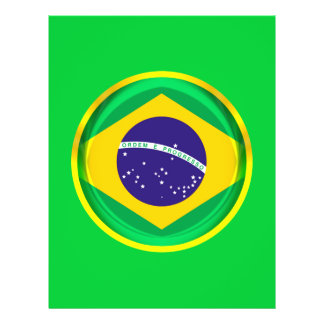 "bandera de 3D el Brasil Folleto 8.5"" X 11"""