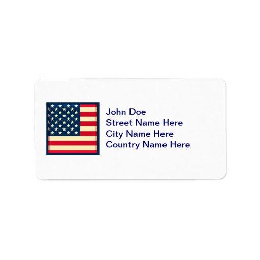 bandera de 3D los E.E.U.U. Etiqueta De Dirección