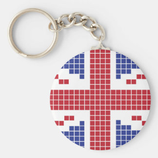 bandera de 8 bits de Union Jack Británicos Reino Llavero Personalizado