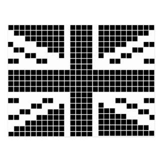 Bandera de 8 bits negra de Union Jack Británicos Postal