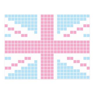 Bandera de 8 bits rosada de Union Jack Británicos Tarjetas Postales