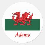 Bandera de Adams Galés Etiqueta Redonda