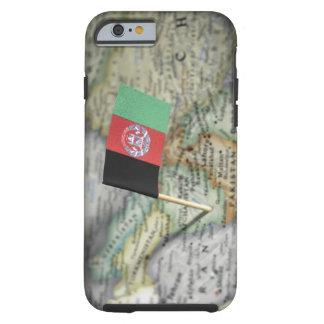 Bandera de Afganistán en mapa Funda De iPhone 6 Tough