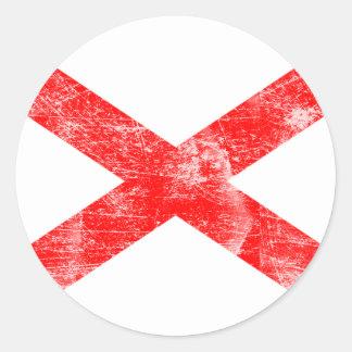 Bandera de Alabama (apenada) Pegatina Redonda