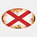 Bandera de Alabama del estilo del Grunge Calcomanía Óval