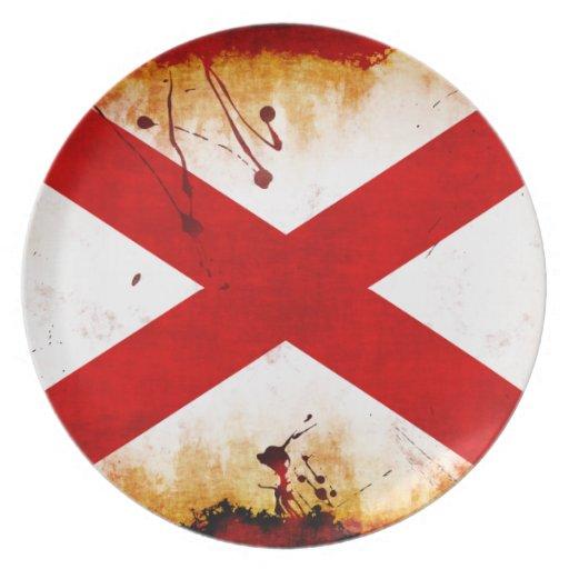 Bandera de Alabama del estilo del Grunge Platos Para Fiestas
