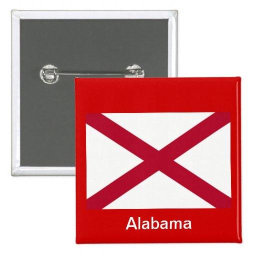 Bandera de Alabama Pin Cuadrada 5 Cm