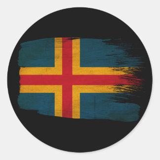 Bandera de Aland Pegatina Redonda