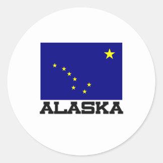Bandera de Alaska Pegatina Redonda
