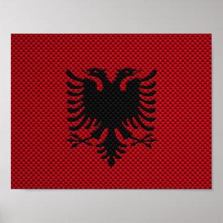 Bandera de Albania con efecto de la fibra de carbo Impresiones