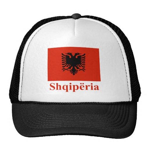 Bandera de Albania con nombre en albanés Gorro