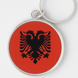 Bandera de Albania Llavero Redondo Plateado