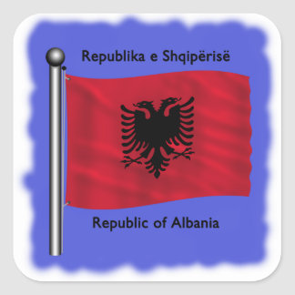 Bandera de Albania Pegatina Cuadrada
