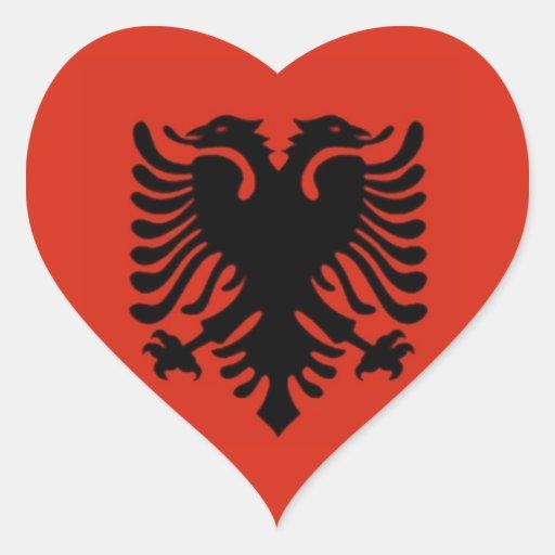 Bandera de Albania Pegatina En Forma De Corazón