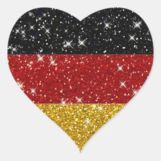 Bandera de Alemania de los brillos con las chispas Pegatina En Forma De Corazón
