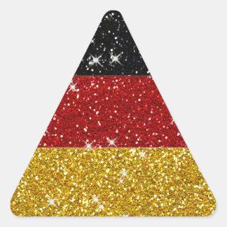 Bandera de Alemania de los brillos con las chispas Pegatina Triangular