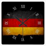 Bandera de Alemania del Grunge del vintage Relojes De Pared