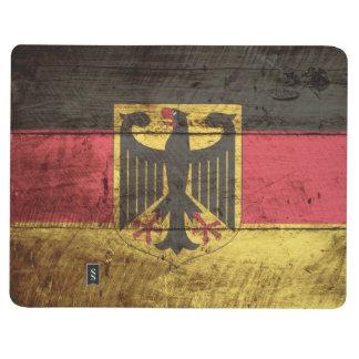 Bandera de Alemania en grano de madera viejo Cuaderno Grapado