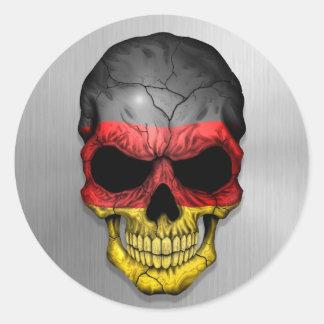 Bandera de Alemania en un gráfico de acero del Pegatina Redonda