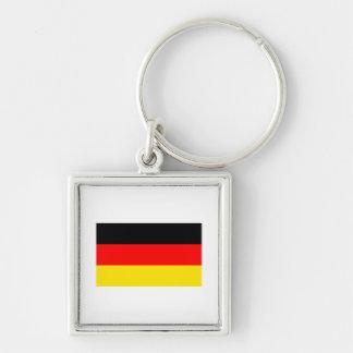 Bandera de Alemania Llavero Cuadrado Plateado