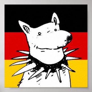 bandera de Alemania y perro blanco con el cuello Póster