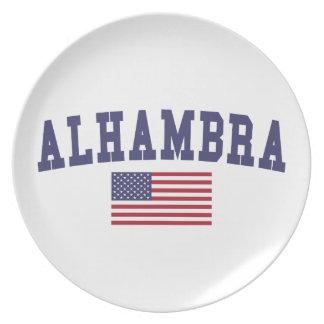 Bandera de Alhambra los E.E.U.U. Plato