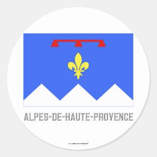 Bandera de Alpes-de-Haute-Provence con nombre Pegatina Redonda