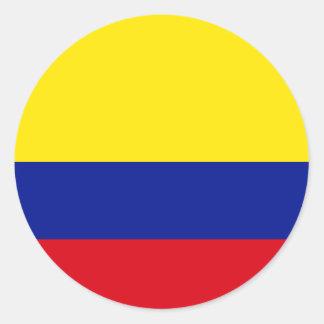 Bandera de alta calidad de Colombia Pegatina Redonda