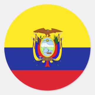 Bandera de alta calidad de Ecuador Pegatina Redonda