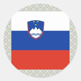 Bandera de alta calidad de Eslovenia Pegatina Redonda