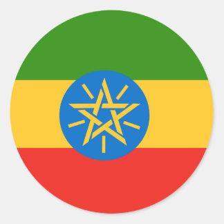 Bandera de alta calidad de Etiopía Pegatina Redonda