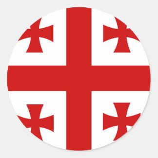 Bandera de alta calidad de Georgia Pegatina Redonda