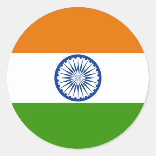 Bandera de alta calidad de la India Pegatina Redonda