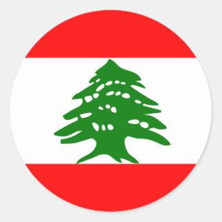 Bandera de alta calidad de Líbano Pegatina Redonda