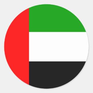 Bandera de alta calidad de los emiratos árabes pegatina redonda