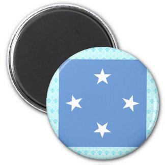 Bandera de alta calidad de Micronesia Imán Redondo 5 Cm