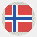 Bandera de alta calidad de Noruega Pegatinas Redondas