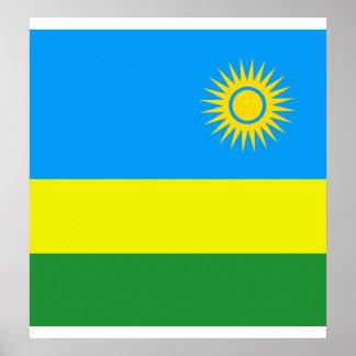 Bandera de alta calidad de Rwanda Poster