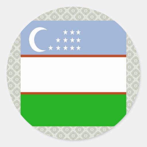 Bandera de alta calidad de Uzbekistán Etiquetas Redondas