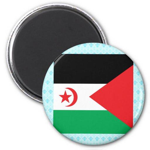 Bandera de alta calidad de Western Sahara Imán Redondo 5 Cm