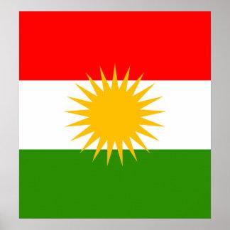 Bandera de alta calidad del Kurdistan Posters