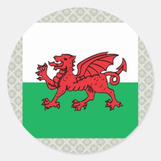 Bandera de alta calidad Galés Pegatina Redonda