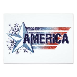 """Bandera de América del vintage con la estrella - Invitación 5"""" X 7"""""""