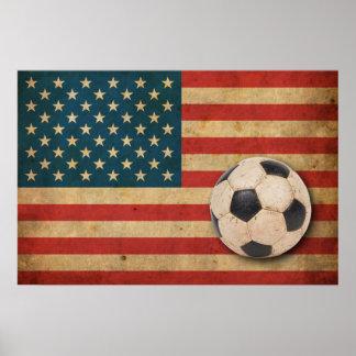 Bandera de América del vintage Poster