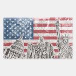 Bandera de América del vintage Rectangular Pegatina