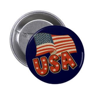 Bandera de América del vintage Pin Redondo De 2 Pulgadas