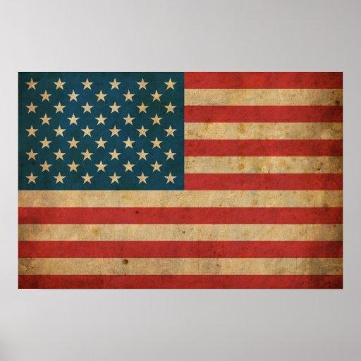 Bandera de América del vintage Póster