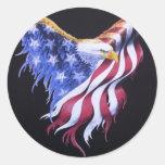 Bandera de American Eagle Pegatina Redonda